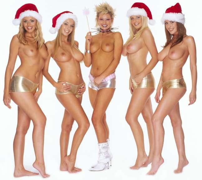 five topless women